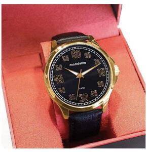 Relógio Mondaine Masculino Analógico Dourado Couro Preto - R$100