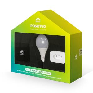 Kit Casa Conectada Positivo com Controle Universal + Lâmpada Wi-Fi + Plug Wi-Fi | R$269
