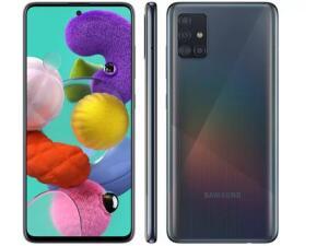 "Smartphone Samsung Galaxy A51 128GB Preto 4G - 4GB RAM 6,5"" Câm. Quádrupla + Câm. Selfie 32MP R$1580"