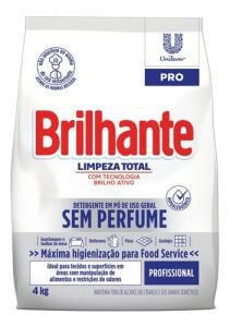 Detergente Em Pó Sem Perfume Brilhante Limpeza Total Pro 4kg R$20