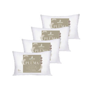Kit 4 Travesseiros Efeito Pluma Ecológica Santista | R$110