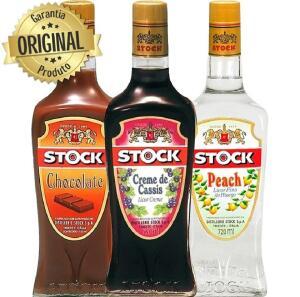 [APP] Kit Licor Stock Flavours Creme de Cassis + Pêssego + Chocolate 720ml - 3 garrafas - R$99
