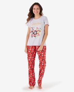 Pijama Longo Natal Mickey Disney - Cinza/Vermelho | R$ 50