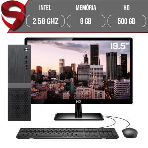 "Computador Completo Intel 2,58Ghz 8GB HD 500GB Monitor 19.5"" HDMI LED Áudio 5.1 canais Slim Skill | R$ 1.468"