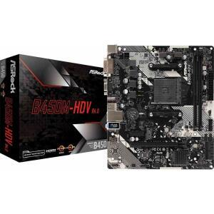 Placa Mãe ASRock B450M-HDV R4.0, Chipset B450, AMD AM4, mATX, DDR4 - R$569
