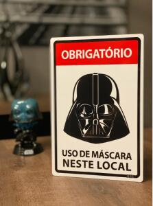 Placa Decorativa Use Máscara: Darth Vader (Star Wars) | R$24