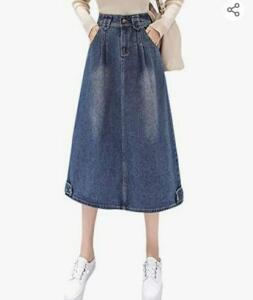 Saia jeans feminina vintage evasê com bolsos Flygo   compra internacional   R$25