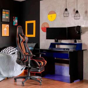Mesa Gamer com LED Vision Preta e Azul | R$232