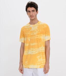 Camiseta Manga Curta Tie Dye Amarelo | R$20