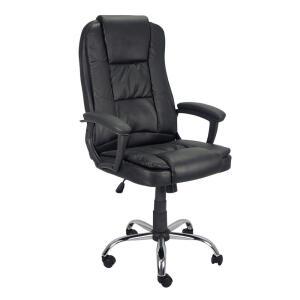 Cadeira Presidente Poltrona para Escritório Giratória Couro com Braço Preto Trato R$559