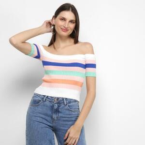 Blusa Canelada Multi Color Ombro a Ombro Feminina - Rosa e Branco   R$17