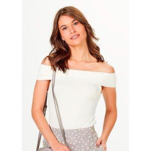 Blusa Hering Ombro A Ombro Canelada - Off White | R$20
