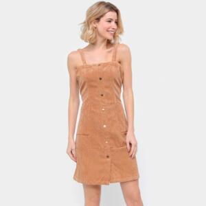 Vestido Curto Allexia Tubinho Veludo - Bege | R$50