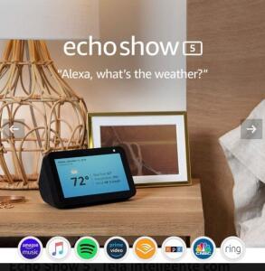 Echo Show 5 , Tela inteligente com Alexa - R$422