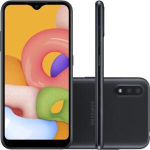 """Smartphone Samsung Galaxy A01 32GB 2GB RAM Tela Infinita de 5.7"""" Câmera Dupla Traseira Preto - R$711"""