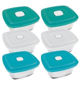 Conjunto De Pote Em Vidro Facilita 1l Com Tampa Plástica - 6 Peças - Marinex | R$ 86