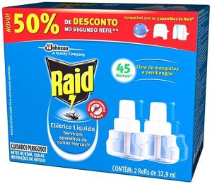 Repelente Elétrico Líquido Raid Refil Regular 2 unidades 32,9 ml cada   R$17