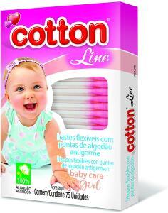 (PRIME) Hastes Flexiveis Cartucho com visor Baby Care girl 75un | mín 2 unid | R$1,24
