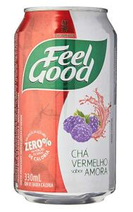 Chá Feel Good Vermelho Com Amora Lata 330Ml (Mínimo 3)   R$3,37 cada