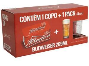 Cerveja Budweiser Kit American Standard Lager - 8 unid. 269ml + Copo | R$29