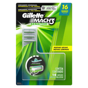 Carga para lâmina de barbear Gillette Mach3 Sensitive 16 unidades R$79