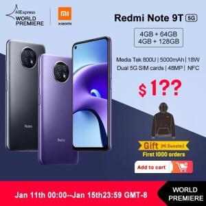 [Pré-venda] Redmi Note 9T 5G (Mediatek Dimensity 800U) 4Gb/64Gb - R$1096