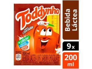 Kit Bebida Láctea Toddynho Chocolate 200ml - 9 Unidades | R$12
