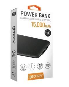 (MagaluPay) Power bank Carregador Portátil 15000mAh Universal - Geonav | R$73