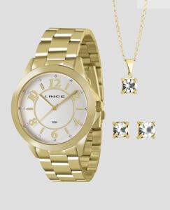 Kit Relógio Feminino Lince + Colar + Brincos | R$60