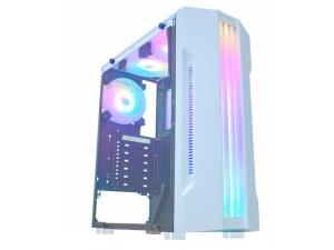 Gabinete Gamer K-Mex Bifrost White CG-04Q1 - RGB ATX 5 FANs Branco   R$284