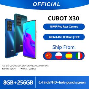 "Cubot x30 8gb smartphone 48mp cinco câmera 32mp selfie nfc 256gb 6.4 ""fhd + fullview display android 10 versão global helio p60 | R$905"