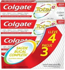 *RETIRAR GRÁTIS* Creme Dental Colgate Total 12 Clean Mint 90g Promo Leve 4 Pague 3 | R$17