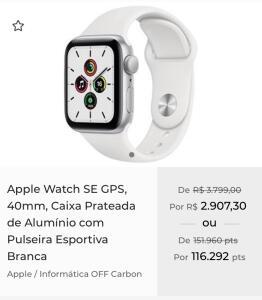 [App+cashback] Apple Watch SE GPS 40mm Pulseira Esportiva Branca | R$2820