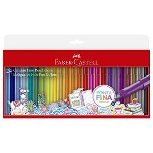 Caneta Ponta Fina, Faber-Castell, Fine Pen, 24 Cores, Multicor | R$52