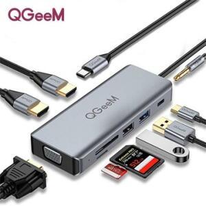 Adaptador Hub QGeeM 9 In 1 4K HDMI VGA USB 2.0/3.0/C SD Micro SD   R$164