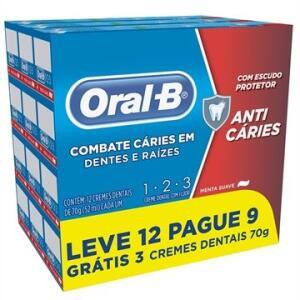Creme Dental 123 Menta 70g - (Leve 12, Pague 9) - Oral B | R$18