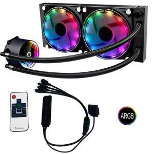 Water Cooler Argb 2-fan Gamemax Ice Chill 240 com Controle Remoto   R$ 421