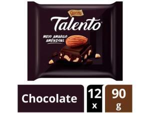 [Cliente Ouro]Barra de Chocolate Talento Amêndoas Meio Amargo - 90g 12 Unidades | R$ 49