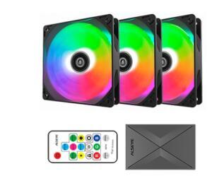 KIT FAN COM 3 UNIDADES ALSEYE M120-P BLACK, RGB, 120mm | R$159