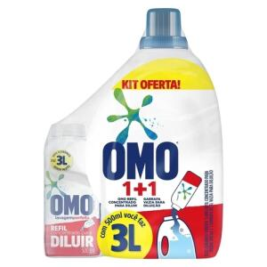 APP - Kit Sabão para diluir OMO 500ml com garrafa - R$ 12