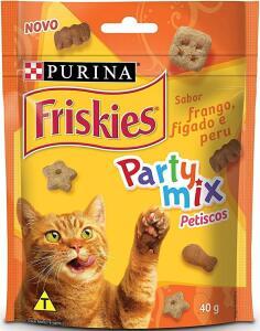 (PRIME/Recorrência) NESTLÉ PURINA FRISKIES Party Mix Petisco para Gatos Adultos Frango, Fígado e Peru 40g | R$3.60