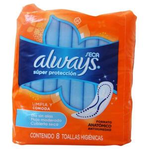 Absorvente Always Super Proteção Seca Sem Abas - 8 Unidades | R$1,99