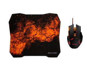 Mouse Gamer Multilaser MO256 com Mouse Pad QuickFire - Preto   R$ 72