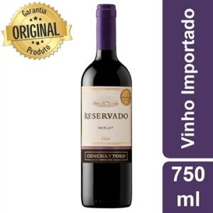 Vinho Tinto Chileno Merlot Concha Y Toro Reservado 750ml   R$28