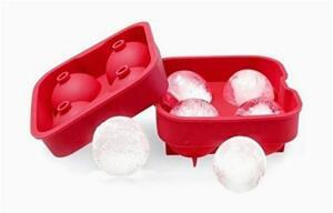 Forma Flexível De Silicone Para Gelo Com 4 Cavidades - Vermelho | R$27