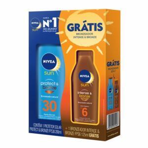 Protetor Solar Nivea Protect & Bronze Fps 30 200ml Grátis Bronzeador Nivea Fps 6 125ml | R$ 26
