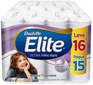 [PRIME] Papel Higiênico Elite Dualette Folha Dupla Ultra, 16 rolos | R$ 13