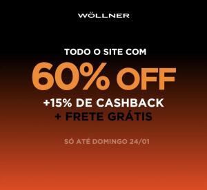 [AME 15%] WOLLNER 60% de desconto + 15% de cashback + frete grátis