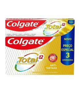 [3 unid.] Creme Dental Colgate Total 12 Anti Tártaro 90G | R$12