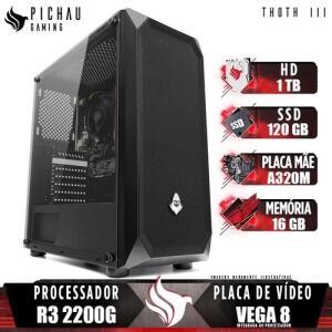PC Gamer Pichau Thoth III, AMD Ryzen 3 2200G, 16GB DDR4, HD 1TB + SSD 120GB, 400W | R$2370